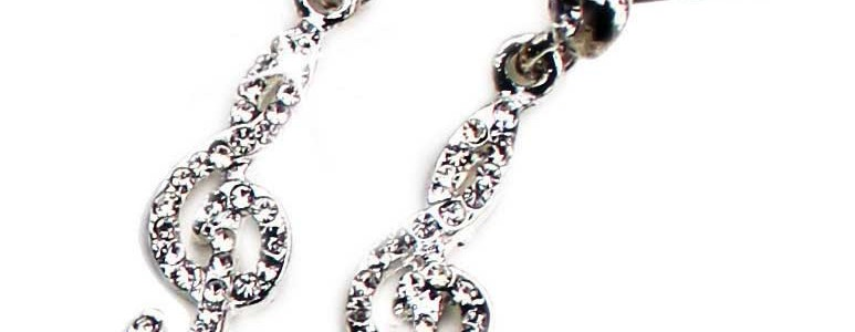 Clef earrings crystal